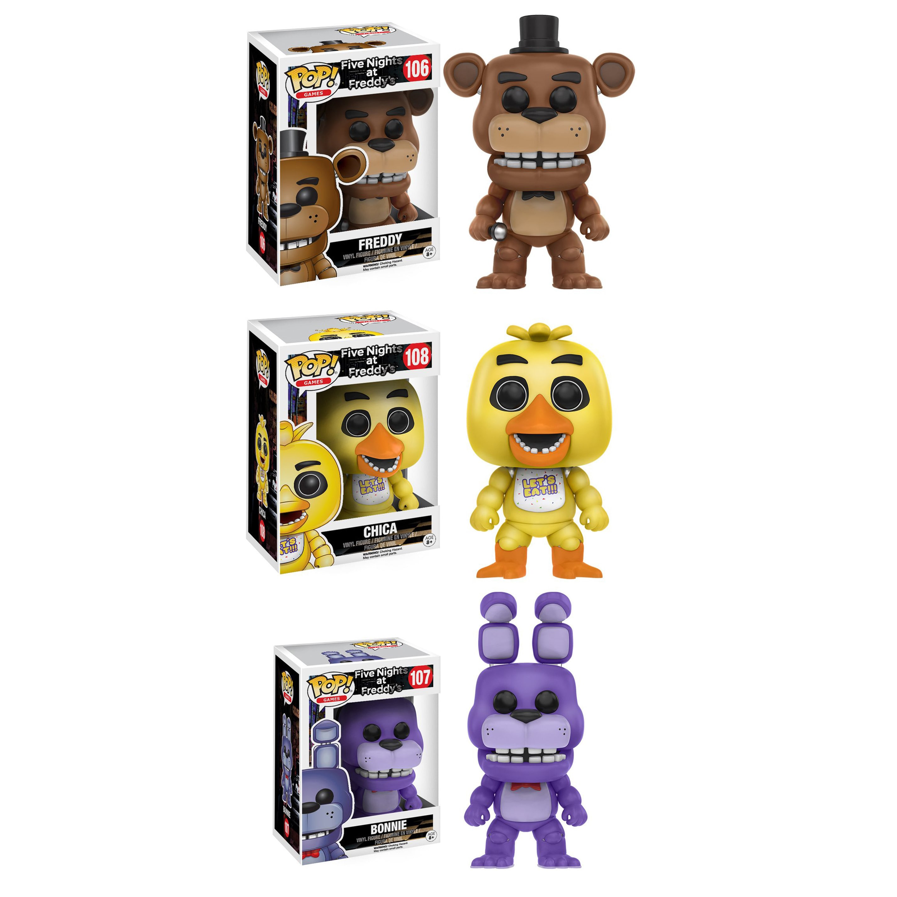 Funko Pop Five Nights At Freddys Collectors Set With Freddy Bott Fnaf Bonnie And Chica