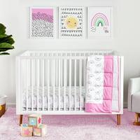 Little Star Organic Pure Organic Cotton Crib Bedding Set, 3 Pc, Pink-Taste the Rainbow