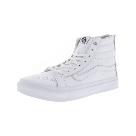 5bc0f3b6eb Vans - Vans Sk8-Hi Slim Zip Hologram True White   Mid-Top Leather  Skateboarding Shoe - 6.5M 5M - Walmart.com