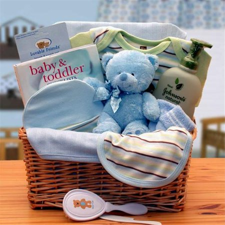 Gift basket 890533-B Organic New Baby Basics Gift Baskets - Blue