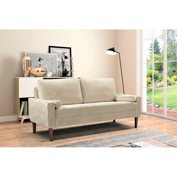 Adriano Velvet 71 65 Wide Square Arms Sofa Walmart Com Walmart Com