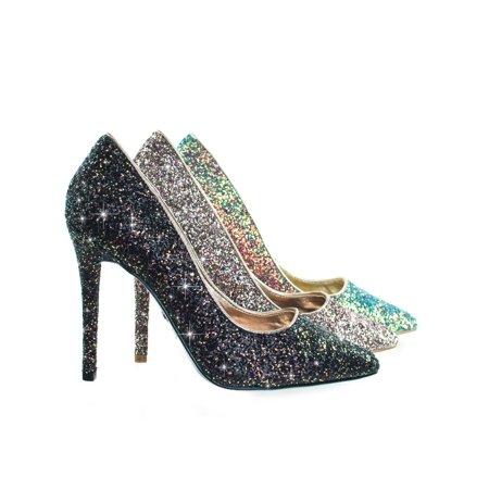 89202e72100 Dedicate76 by Anne Michelle, Rock Glitter High Heel Pointed Toe Dress Pump
