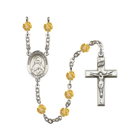 Immaculate Heart of Mary Silver-Plated Rosary 6mm November Yellow Fire Polished Beads Crucifix Size 1 3/8 x 3/4 medal charm