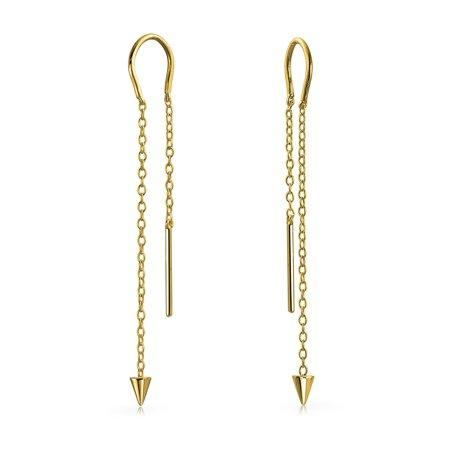Minimalist Geometric Arrow Spike Tip Chain Threader Earrings For Women For Teen 14K Gold Plated 925 Sterling Silver