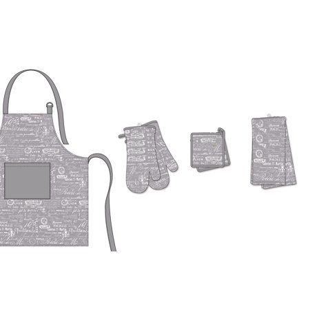 Simplicity Oven Mitt - Hotel by Domay Paris 7 Piece Set - Apron, 2 Oven Mitts, 2 Pot Holders, and 2 Kitchen Towels, Multiple Colors Available