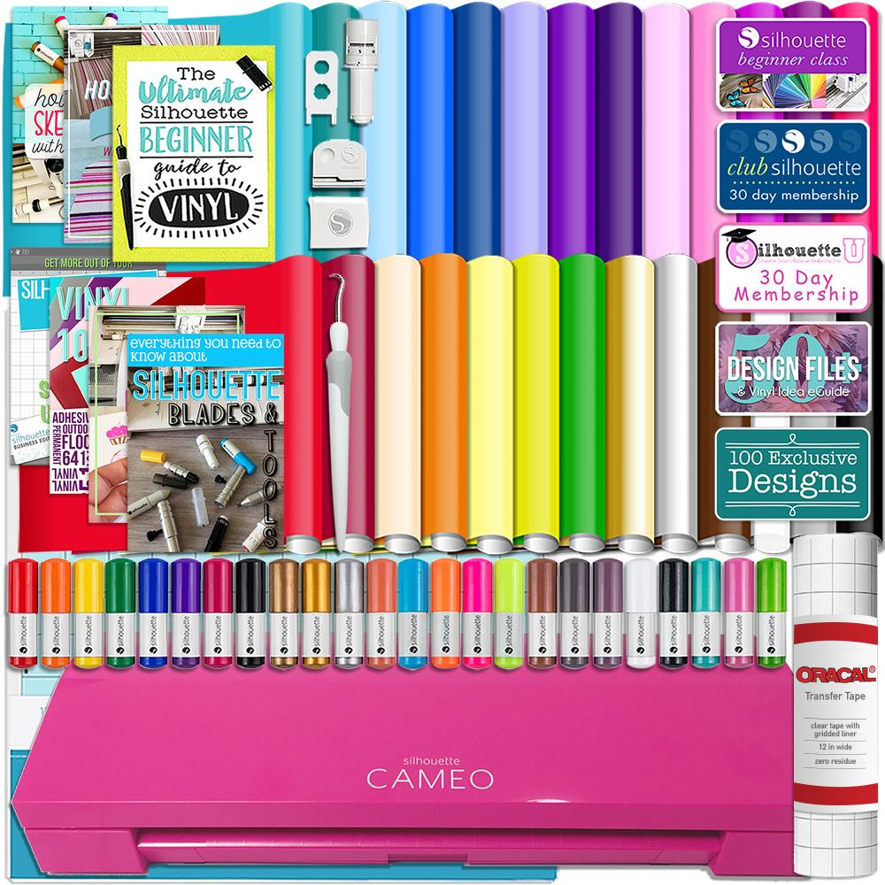 Silhouette Pink Cameo 3 Bluetooth Bundle 26 Oracal 651 Sheets, Guides, 24 Pack Sketch Pens, and More