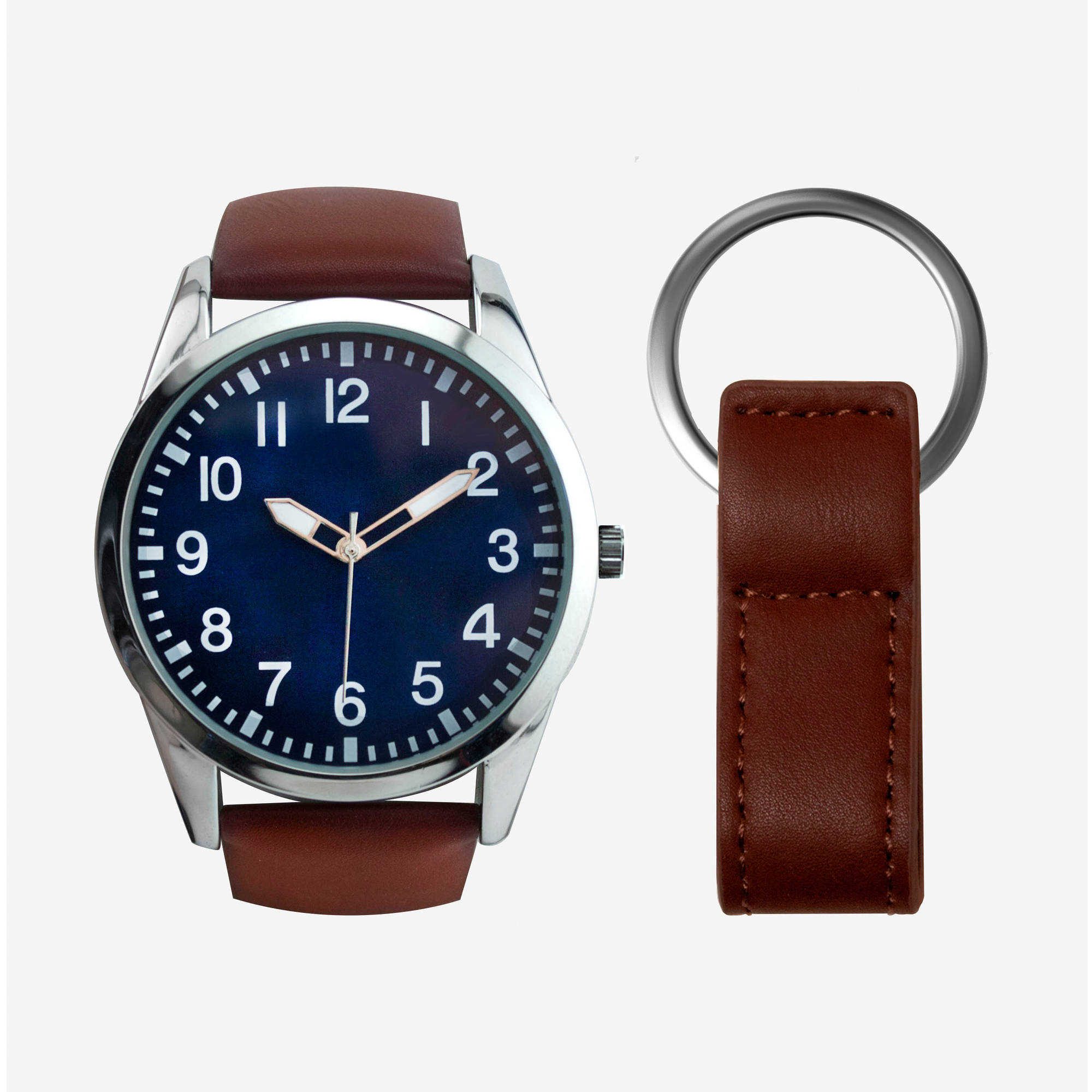 Men's Blue Dial Watch with Brown Strap Gift Set and Key Chain