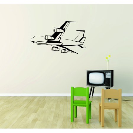 - Custom Wall Decal Sticker : Flying Airplane Silhouette 12x18 Inches