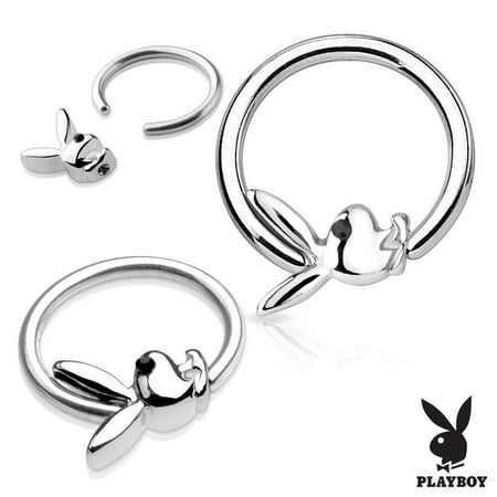 Black Gem Eye Playboy Bunny Captive Hoop Rings 14G Captive Bead Pair