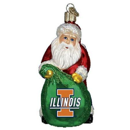 (Old World Christmas Illinois Fighting Illini Santa Glass Ornament 62811 NCAA)