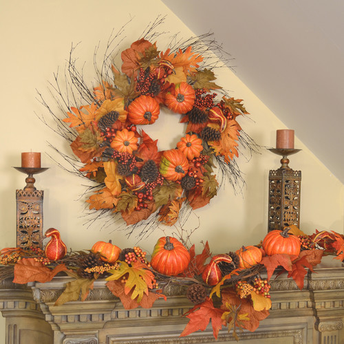 Floral Home Decor Large Pumpkin and Twig Wreath and Garland Set
