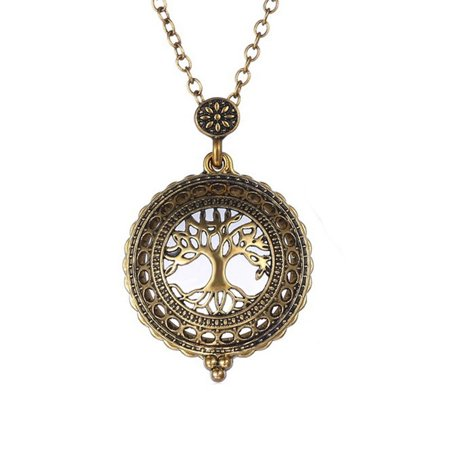 Tree Of Life Magnifying Glass Necklace Anti-Tarnish Pendant  -
