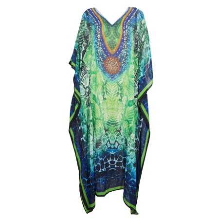 French Fry Dress (Mogul WINGS TO FLY Maxi Caftan Jewel Print Georgette Kimono Sleeves Beach Cover Up Dress One)