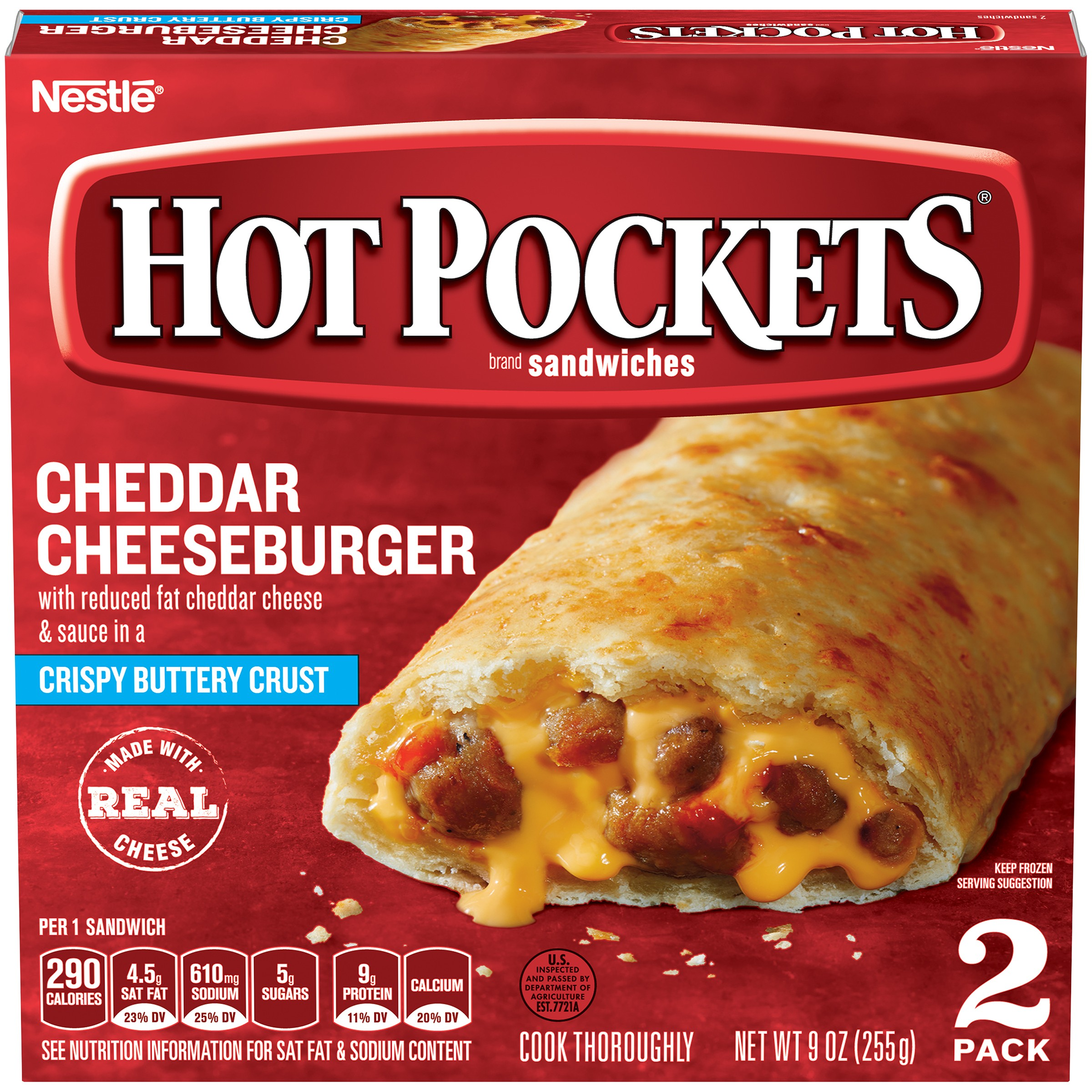 HOT POCKETS Cheddar Cheeseburger Frozen Sandwiches 2 ct Box