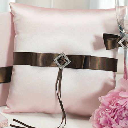 Chocolate And Strawberry Cream Wedding Ceremony Square Ring Bearer Pillow - Blended Family Wedding Ceremony
