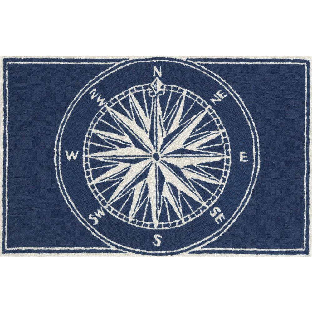 Trans-Ocean Rug Frontporch Compass Navy Indoor/Outdoor Area Rug