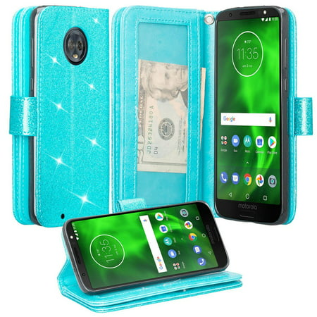 Motorola Moto G6 Case, Moto G6 2018 Case, KickstandGlitter Faux Leather Flip [Kickstand Feature] Protective Wallet Case Cover Clutch - Teal