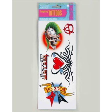 Punk Biker Heavy Metal Rock Star Theme Costume Accessory Tattoo Set