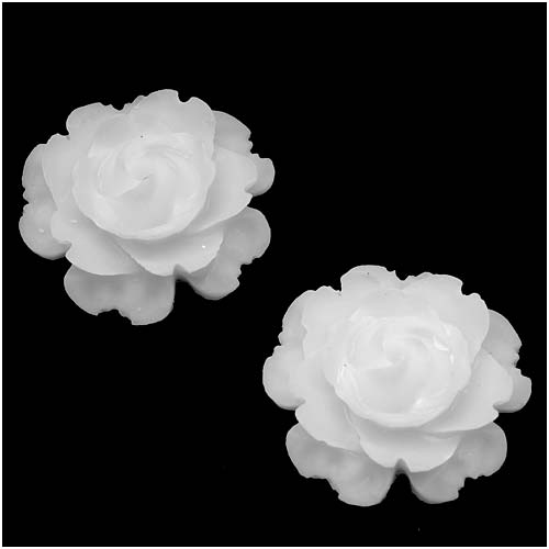 Lucite Flower Cabochons Blooming Rose Matte Trans. White 23mm (2)