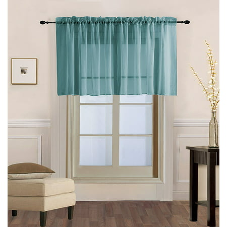 "Decotex 1 Piece Sheer Voile Rod Pocket Multi Use Straight Window Curtain Valance Topper (55"" X 18"", Slate Blue)"