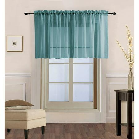 Gold Multi Finish (Decotex 1 Piece Sheer Voile Rod Pocket Multi Use Straight Window Curtain Valance Topper (55