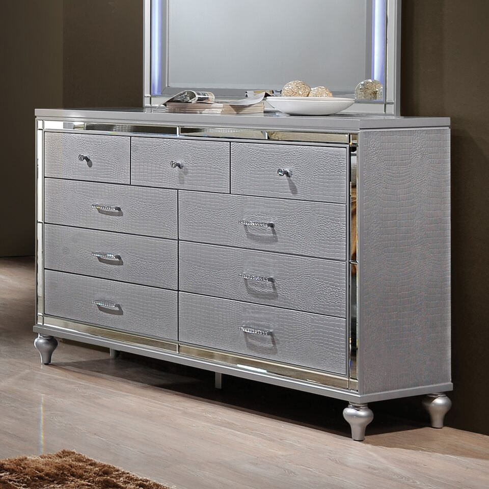 Home Source Kelly 9 Drawer Silver Dresser with Textured Faux Leather, Jeweled Handles, and Mirrored Trim