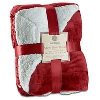 "Genteele Super Soft Luxurious Sherpa Throw Blanket, 50"" X 60"", Burgundy Red"