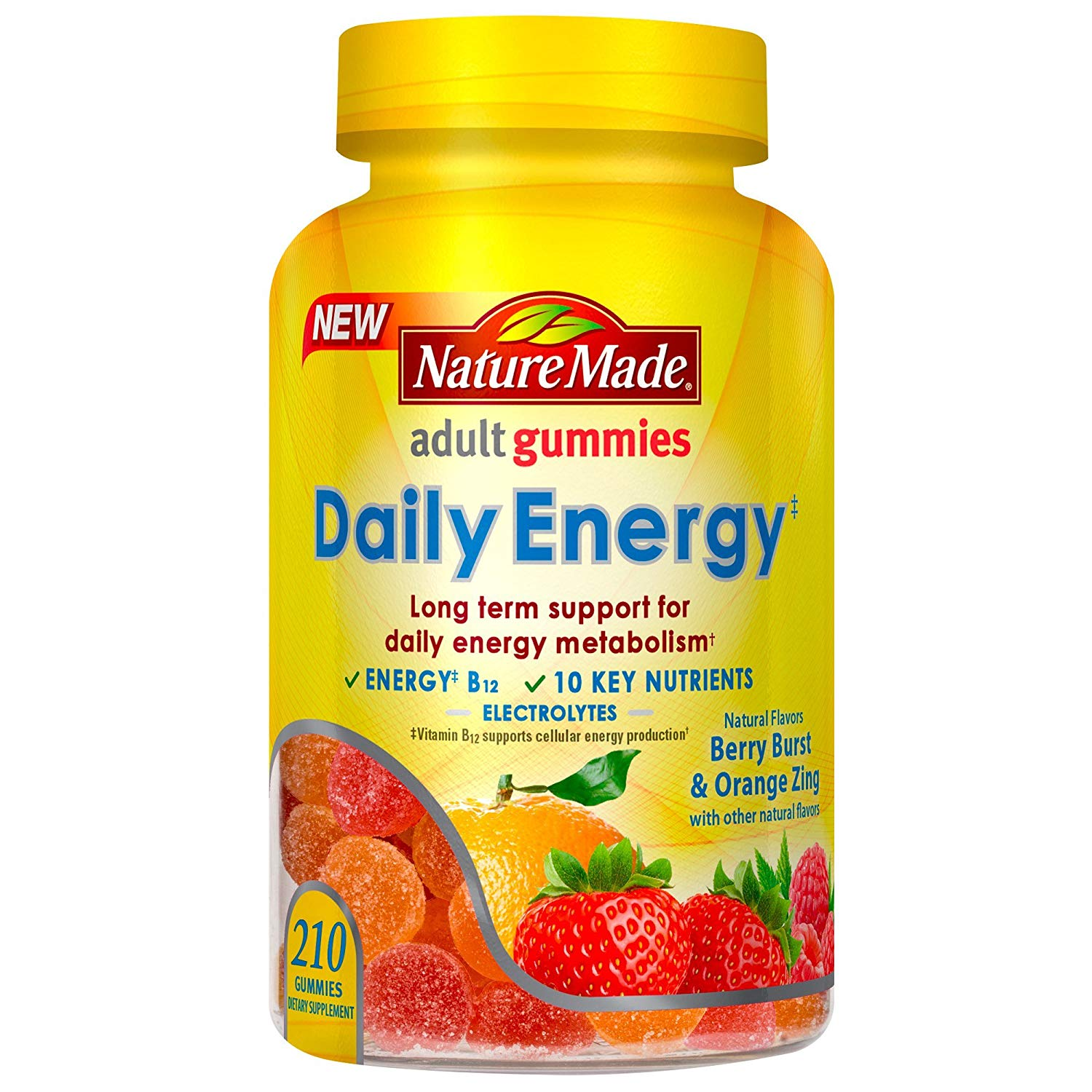 Daily Energy Support Gummy: B12 + 10 Key Nutrients, 70 Ct, Helps convert food to cellular energy. By Nature Made