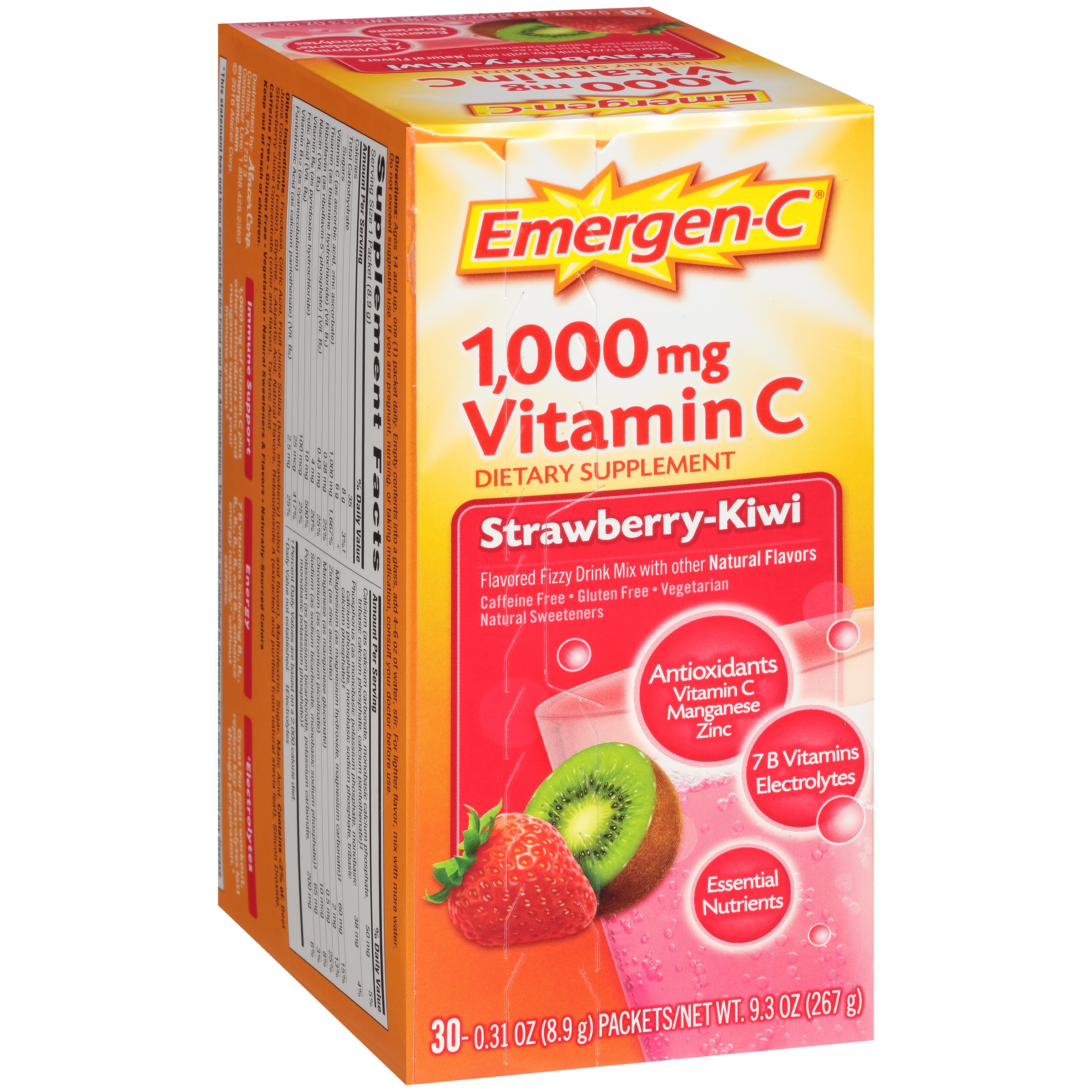 Emergen-C (30 Count, Strawberry-Kiwi Flavor) Dietary Supplement Fizzy Drink Mix With... by Alacer Corp.
