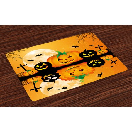 Halloween Placemats Set of 4 Spooky Carved Halloween Jack o Lantern and Full Moon with Bats and Grave Lake, Washable Fabric Place Mats for Dining Room Kitchen Table Decor,Orange Black, by Ambesonne - Halloween Ice Carvings