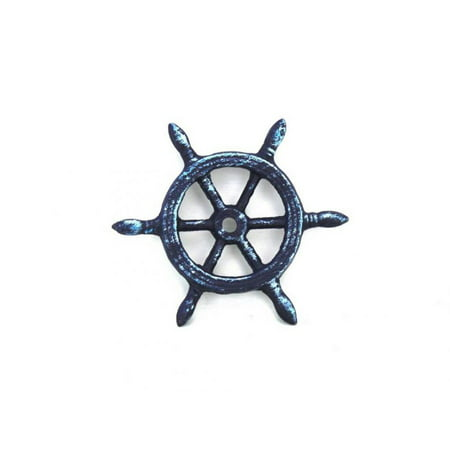 "Rustic Dark Blue Cast Iron Ship Wheel Decorative Paperweight 4"" - Beach Decoration - Vintage Cast Iron Decor - Coastal Living"