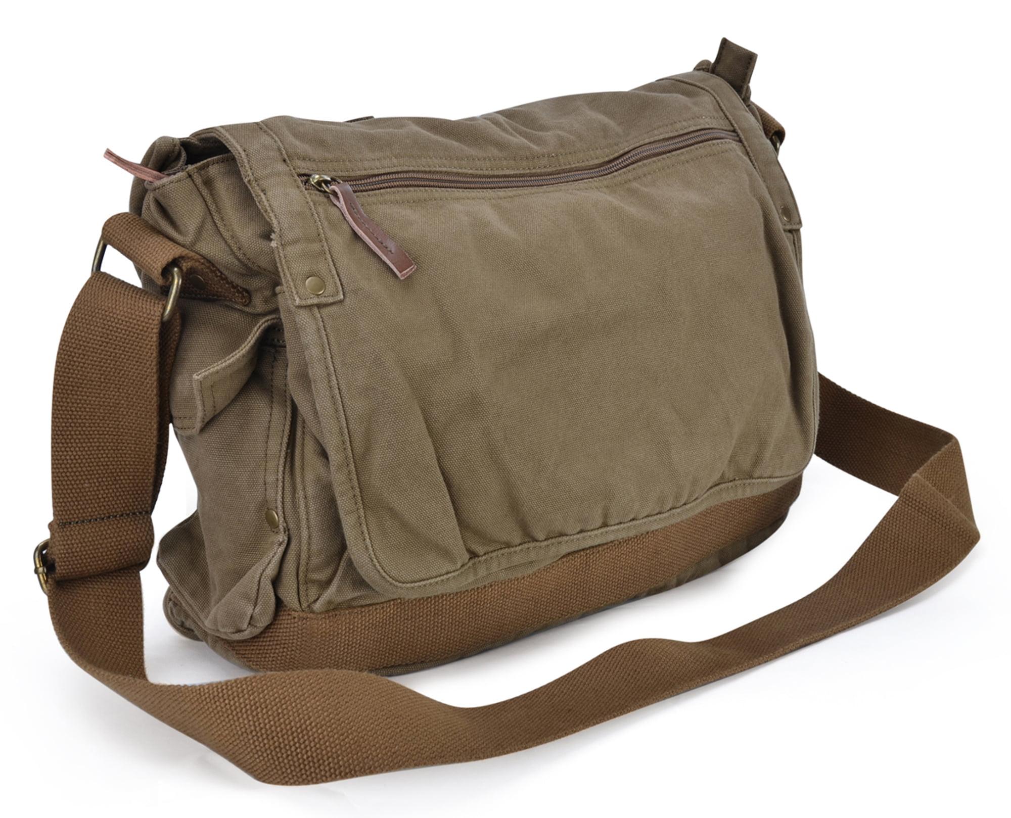 Gootium Classic Messenger Bag Vintage Canvas Shoulder Bag 15.6 Inch Laptop  Bag 60fb201feac