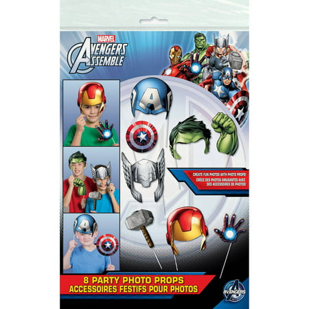 Avengers Photo Booth Props, 8pc - Avengers Birthday Supplies