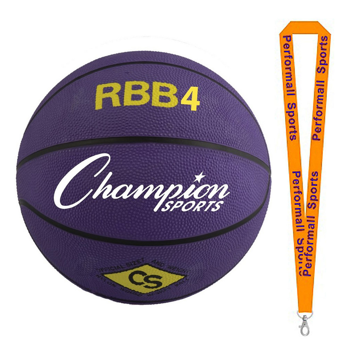 Champion Sports Bundle: Pro Rubber Basketball Purple with 1 Performall Lanyard RBB4PR-1P