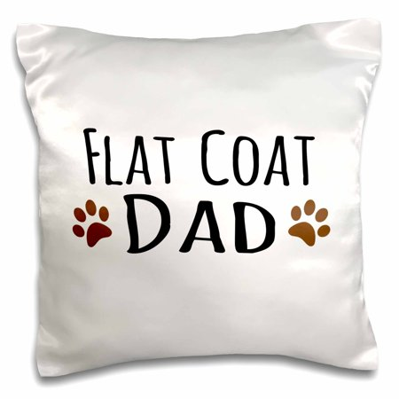 Brown Flat Coated Retriever - 3dRose Flat Coat Dog Dad - flat-coated retriever doggie by bread - brown muddy paw prints - doggy lover - Pillow Case, 16 by 16-inch