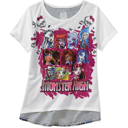 Monster High Girls' Face Group with Graffiti Back Graphic Tee