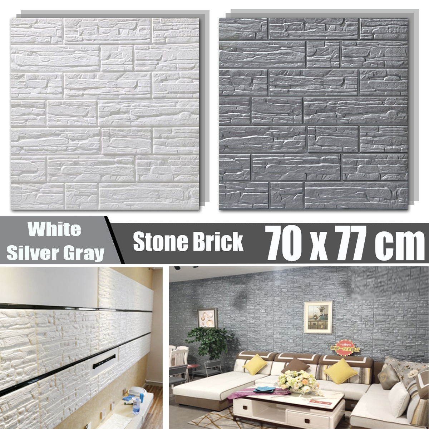 3D Tile Brick Stone Wall Sticker Self Adhesive Waterproof Foam Panels Home Decor