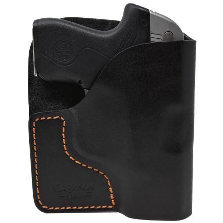 Premium Stitch Black Italian Leather Pocket Holster for Beretta Pico 380 (Beretta 92 Grips Wood)