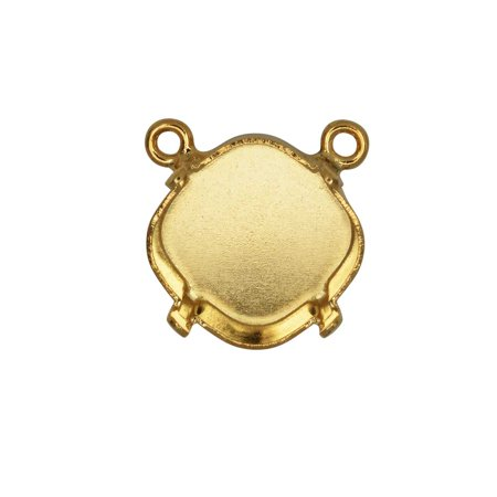 Gita Jewelry Stone Setting for Swarovski Crystal, Pendant Link Base with 2 Loops for 12mm Cushion, Gold Plated