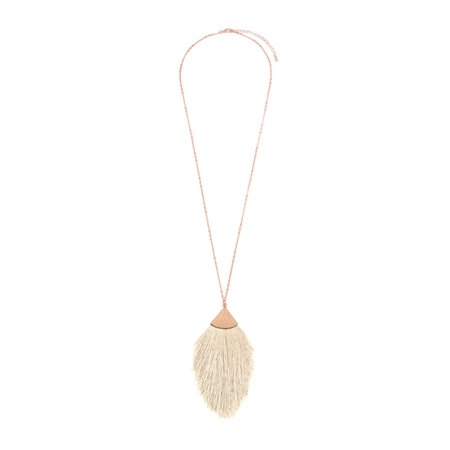 Riah Fashion Antique Bohemian Silky Thread Fan Tassel Statement Drop - Vintage Gold Feather Shape Strand Fringe Lightweight Hook Dangles Earrings/Long Chain Necklace