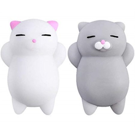 nutty toys squishy cat set - 2 soft silicone kawaii kitty squishies -top stress relief & fidget toy 2019 - unique kids & adults easter present idea gifts for boys, girls, tweens &