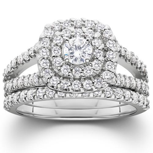 1 1/10ct Cushion Halo Solitaire Diamond Engagement Wedding Ring Set 10K White Gold