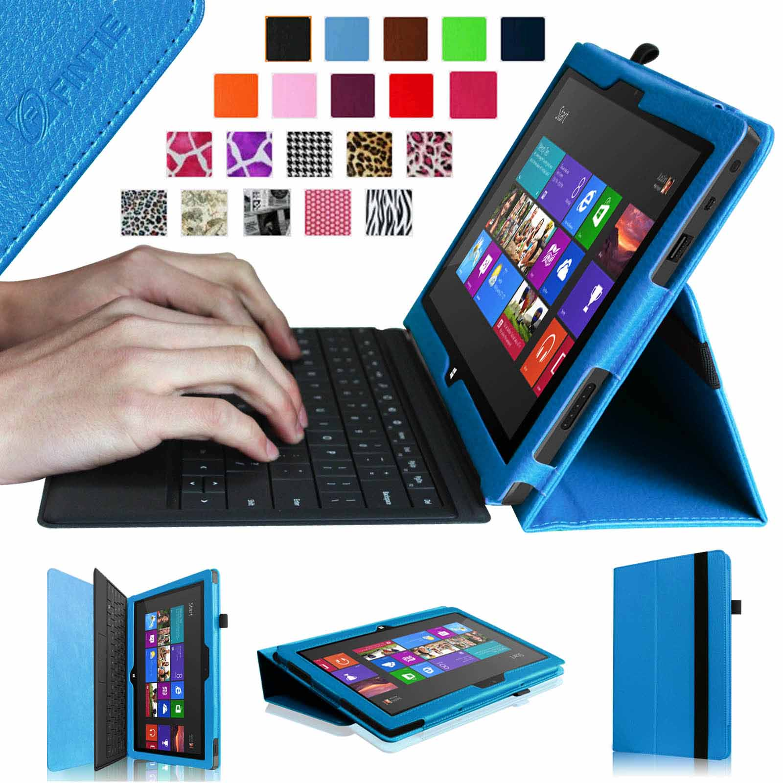 Fintie Microsoft Surface RT / Surface 2 10.6 inch Tablet Folio Case - Slim Fit PU Leather Stand Cover, Blue