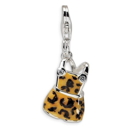 Sterling Silver CZ Black Yellow Enameled Overall With Lobster Clasp Charm - Measures 29x11mm ()