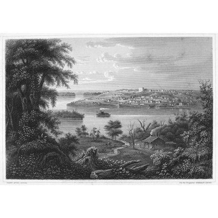 Illinois Nauvoo C1860 Nnauvoo Illinois On The Banks Of The Mississippi River Steel Engraving C1860 Rolled Canvas Art     24 X 36