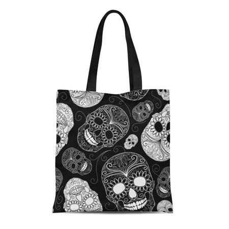 SIDONKU Canvas Tote Bag Pattern Black Skulls White Halloween Floral Paisley Tattoo Rock Reusable Shoulder Grocery Shopping Bags Handbag