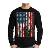 Awkward Styles Men's USA Flag Distressed Graphic Long Sleeve T-shirt Tops 4th of July Independence Day