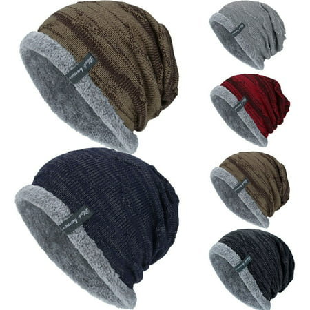 Men Baggy Beanie Knit Hat Winter Warm Fleece Wool Cap Slouchy Skull Ski Hat ()