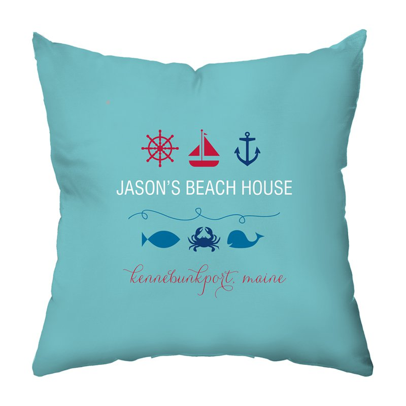 Beachy Baby Personalized Throw Pillow