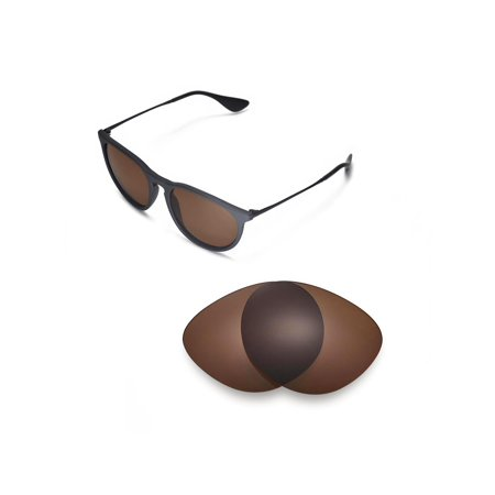 Walleva Brown Polarized Replacement Lenses for Ray-Ban Erika RB4171 54mm Sunglasses (Rayban Wayfarer 54mm)